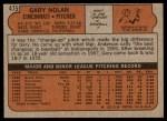 1972 Topps #475  Gary Nolan  Back Thumbnail