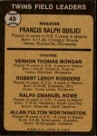 1973 Topps #49 ORG  -  Frank Quilici / Vern Morgan / Bob Rodgers / Ralph Rowe / Al Worthington Twins Leaders Back Thumbnail