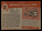 1954 Topps World on Wheels #32   Renault Victoria 1909 Back Thumbnail