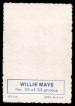 1969 Topps Deckle Edge #33  Willie Mays  Back Thumbnail
