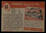 1954 Topps World on Wheels #53   Studebaker Touring Car 1906 Back Thumbnail