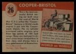 1954 Topps World on Wheels #26   Cooper-Bristol Back Thumbnail