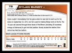 2013 Topps #78  Dylan Bundy   Back Thumbnail