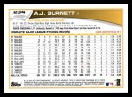 2013 Topps #234  A.J. Burnett   Back Thumbnail