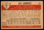 1953 Bowman #92  Gil Hodges  Back Thumbnail