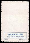 1969 Topps Deckle Edge #26  Rich Allen     Back Thumbnail