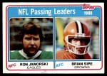 1981 Topps #1   -  Ron Jaworski / Brian Sipe Passing Leaders Front Thumbnail