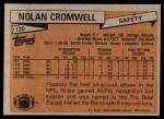 1981 Topps #120  Nolan Cromwell  Back Thumbnail