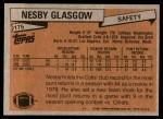 1981 Topps #176  Nesby Glasgow  Back Thumbnail