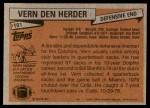 1981 Topps #101  Vern Den Herder  Back Thumbnail