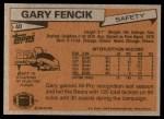 1981 Topps #40  Gary Fencik  Back Thumbnail