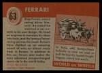 1954 Topps World on Wheels #63   Ferrari Back Thumbnail