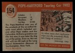 1954 Topps World on Wheels #154   Pope-Hartford Touring Car Back Thumbnail