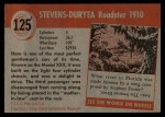1954 Topps World on Wheels #125   Stevens-Duryea Roadster 1910 Back Thumbnail