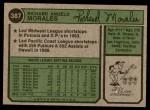 1974 Topps #387 SD Rich Morales  Back Thumbnail