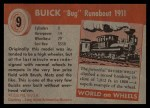 1954 Topps World on Wheels #9   Buick Bug Runabout 1911 Back Thumbnail