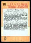 1991 Fleer #379   -  Joe Dumars Pistons Leaders Back Thumbnail