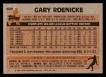1983 Topps #605  Gary Roenicke  Back Thumbnail
