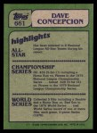 1982 Topps #661   -  Dave Concepcion In Action Back Thumbnail