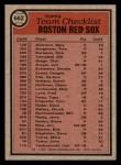 1981 Topps #662   Red Sox Team Checklist Back Thumbnail