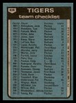 1980 Topps #626   -   Sparky Anderson Tigers Team and Checklist  Back Thumbnail