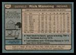1980 Topps #564  Rick Manning  Back Thumbnail