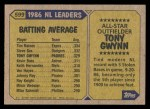 1987 Topps #599   -  Tony Gwynn All-Star Back Thumbnail