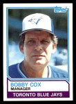 1983 Topps #606  Bobby Cox  Front Thumbnail