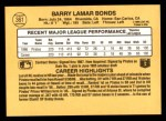 1987 Donruss #361  Barry Bonds  Back Thumbnail