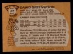 1981 Topps #67 MW David Greenwood  Back Thumbnail