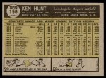 1961 Topps #156  Ken Hunt  Back Thumbnail