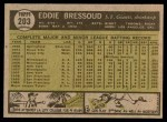 1961 Topps #203 ERR Eddie Bressoud  Back Thumbnail