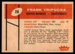 1960 Fleer #26  Frank Tripucka  Back Thumbnail