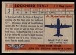 1957 Topps Planes #2 RED  Lockheed T2v-1 Back Thumbnail