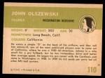 1961 Fleer #110  John Olszewski  Back Thumbnail