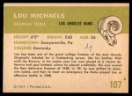 1961 Fleer #107  Lou Michaels  Back Thumbnail