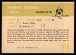 1961 Fleer #175  Dennit Morris  Back Thumbnail