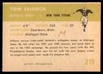 1961 Fleer #219  Tom Saidock  Back Thumbnail