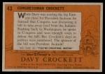 1956 Topps Davy Crockett #43   Congressman Crockett  Back Thumbnail