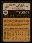 1973 Topps #447  Joe Hague  Back Thumbnail