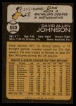 1973 Topps #550  Davey Johnson  Back Thumbnail