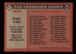 1986 Topps #111   -  Roger Craig Giants Team Checklist Back Thumbnail