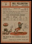 1962 Topps #9  Bill Pellington  Back Thumbnail