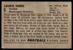 1952 Bowman Large #6  Laurie Niemi  Back Thumbnail