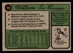 1974 Topps #18  Gary Thomasson  Back Thumbnail