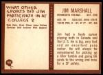 1967 Philadelphia #103  Jim Marshall  Back Thumbnail
