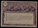 1973 Topps You'll Die Laughing #71   Who threw that mudball? Back Thumbnail