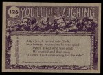 1973 Topps You'll Die Laughing #126   I'll be done cutting your hair Back Thumbnail