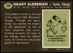 1969 Topps #239  Grady Alderman  Back Thumbnail
