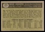 1961 Topps #221  Mike Higgins  Back Thumbnail